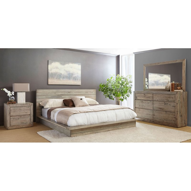 White-Washed Modern Rustic 4 Piece Queen Bedroom Set