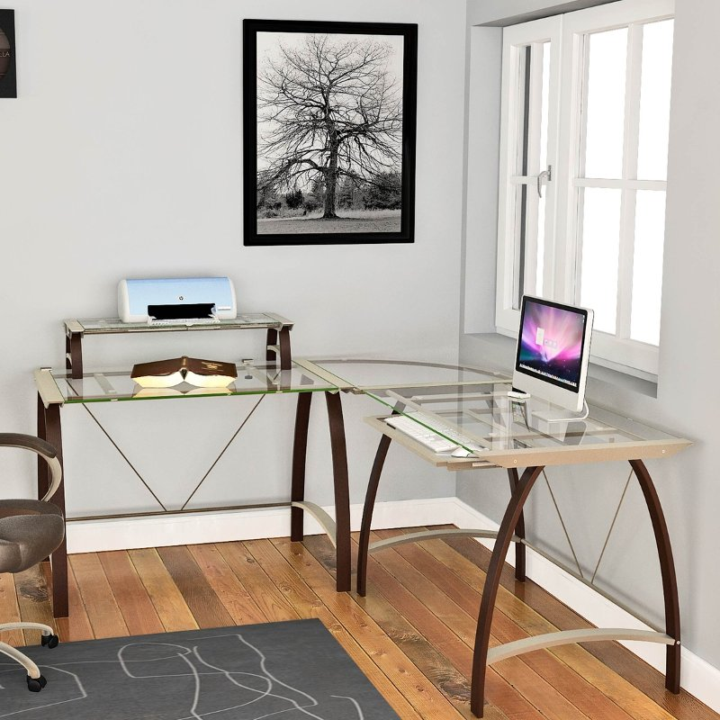 Contemporary L Shaped Glass Corner Desk
