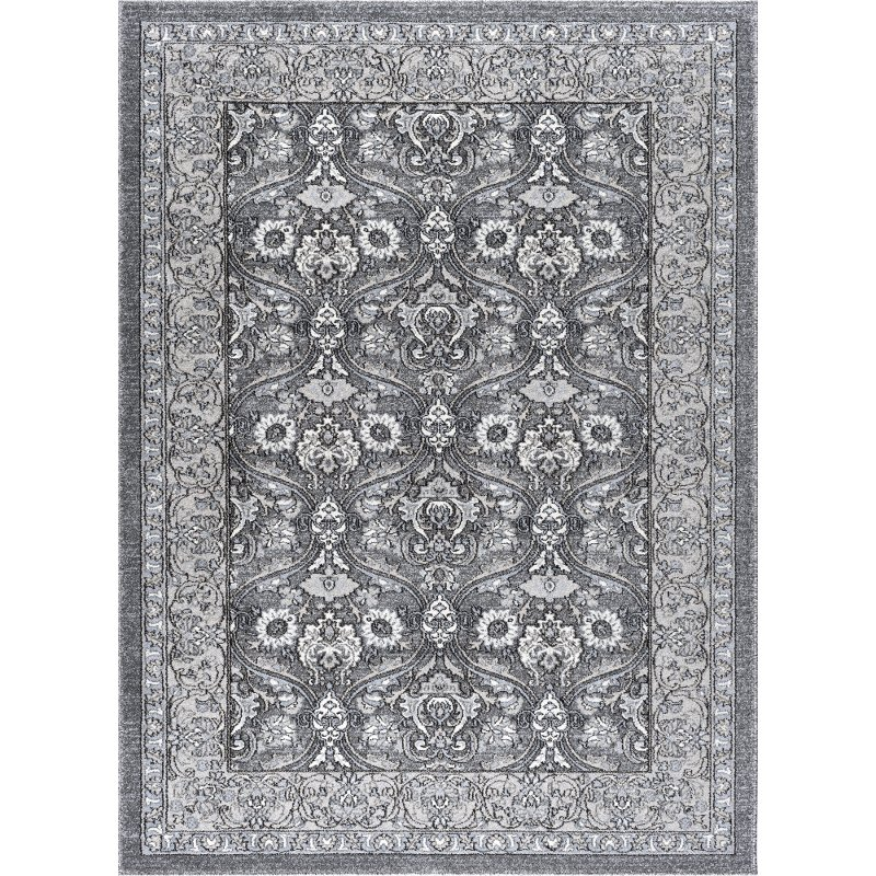 8 X 11 Large Charcoal, Gray, And Ivory Area Rug
