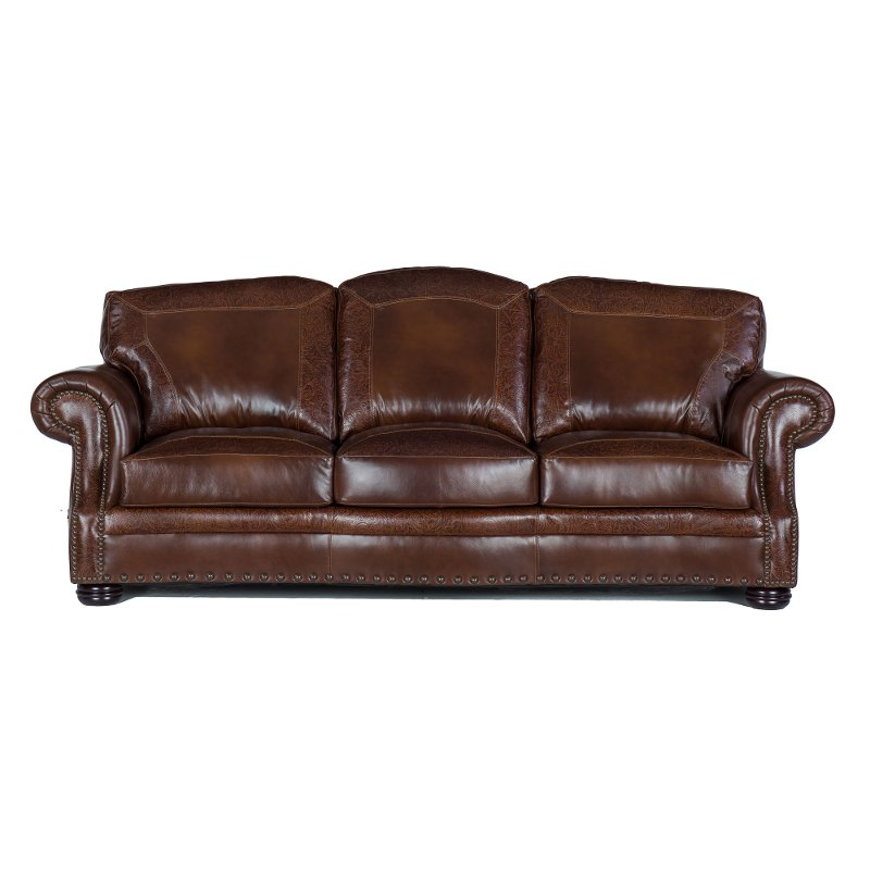 Classic Traditional Brown Leather Sofa Paisley Rc