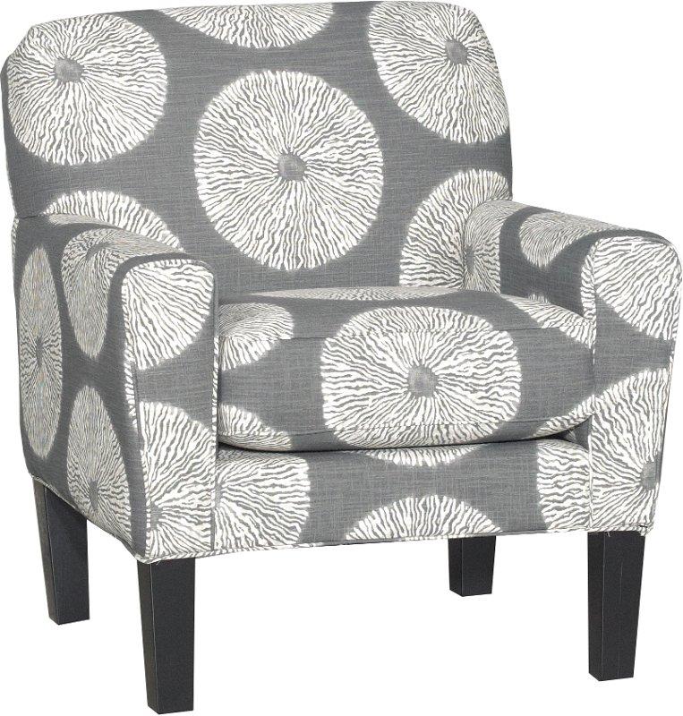 Casual Contemporary White U0026 Gray Accent Chair   Raven