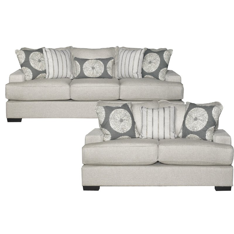 Contemporary Flax Gray 2 Piece Living Room Set - Raven