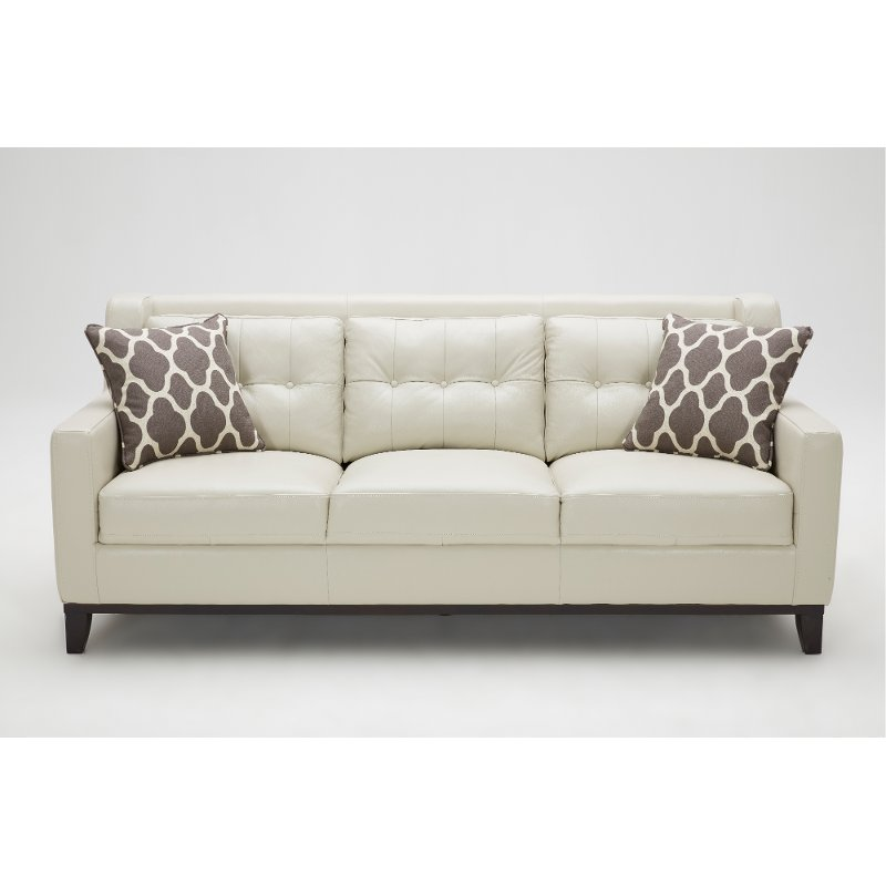 Contemporary Taupe Leather Sofa Nigel