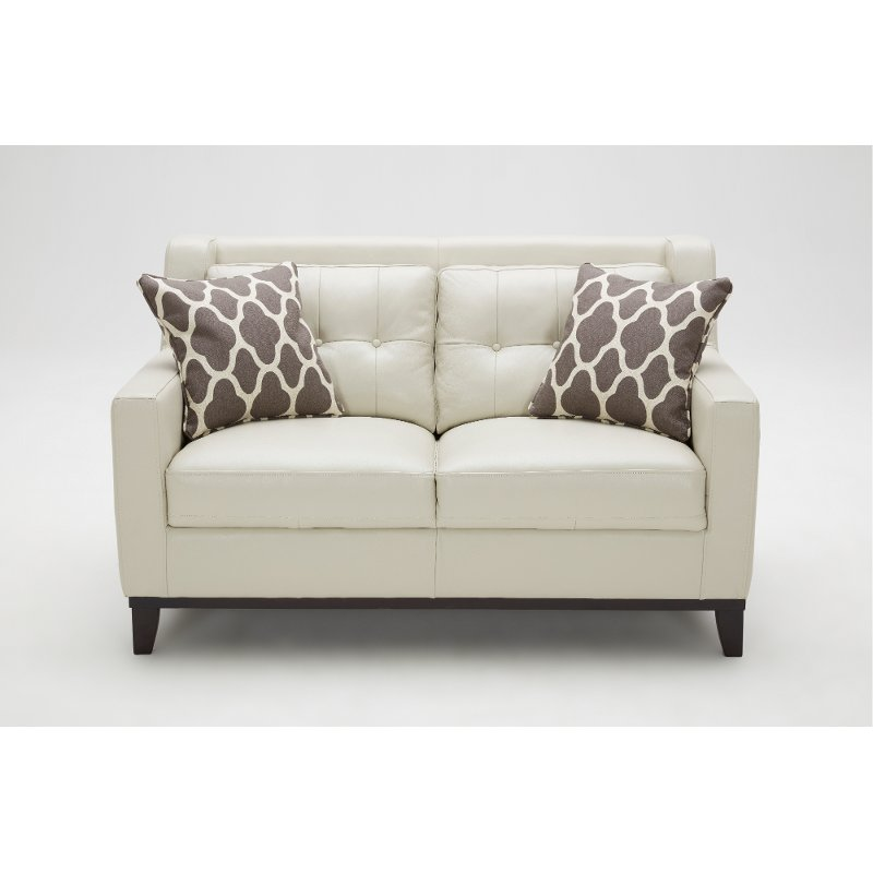 Contemporary Taupe Leather Loveseat Nigel Rc Willey Furniture Store