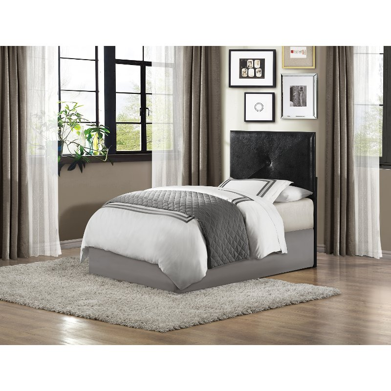 Rc Willey Kids Beds: Black Upholstered Contemporary Twin Headboard
