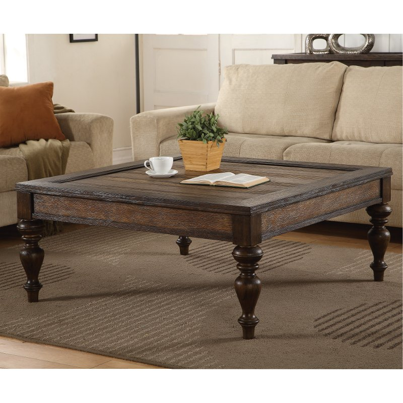 Kubo Square Coffee Table: Weathered Oak Brown Square Coffee Table - Bordeaux