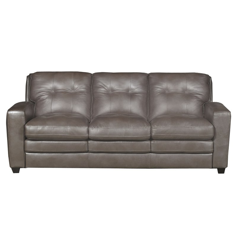 Modern Contemporary Bronze Leather Sofa Bed - Roland | RC Willey ...