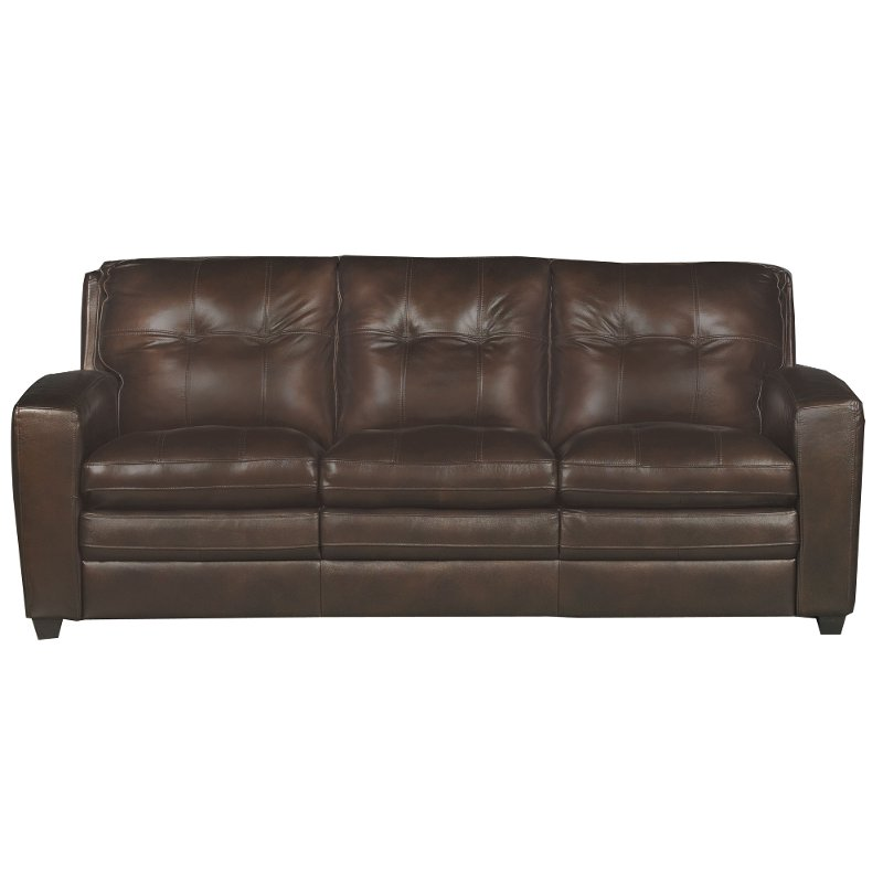 Contemporary Brown Leather Sofa Bed - Roland | RC Willey Furniture Store