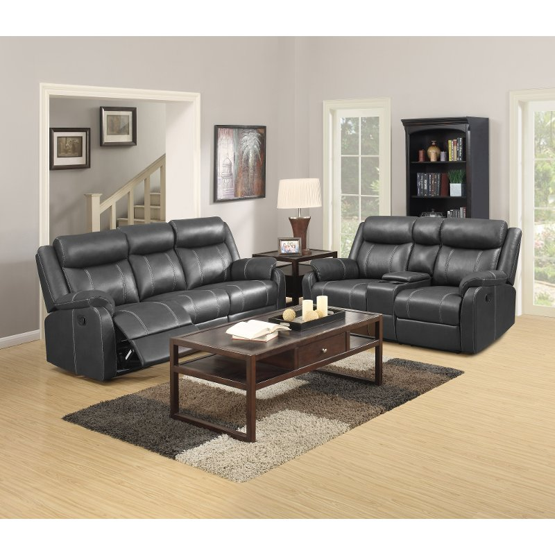 Valor carbon gray reclining living room set domino rc Furniture warehouse living room sets