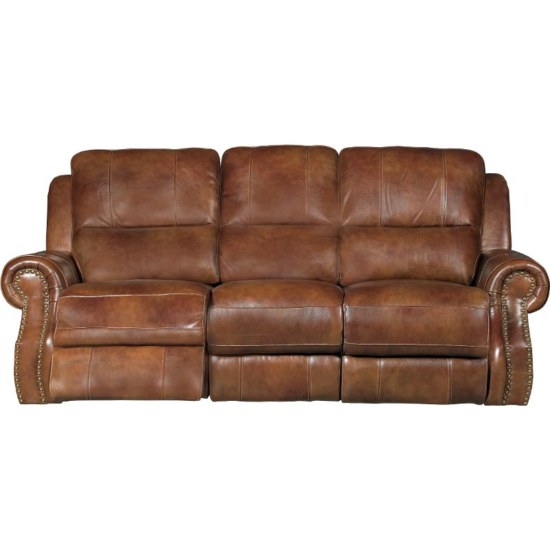 Rc Willey Truck: Chestnut Brown Leather-Match Manual Dual Reclining Sofa
