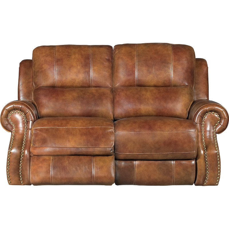 Chestnut Brown Leather-Match Manual Reclining Loveseat - Nailhead ...