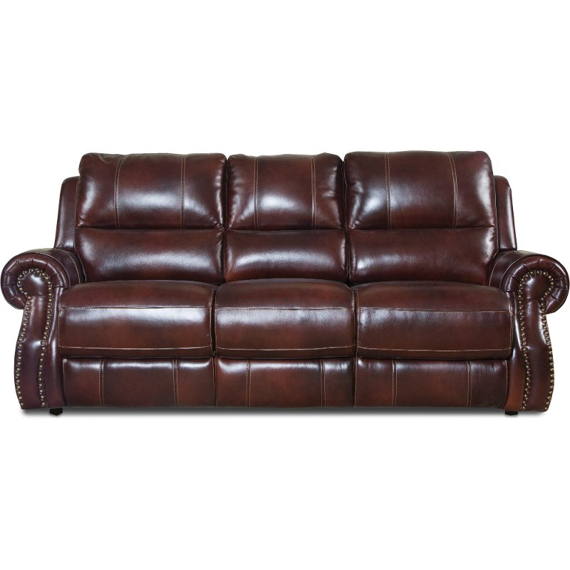 auburn leather match power reclining sofa nailhead - Sofa Leather