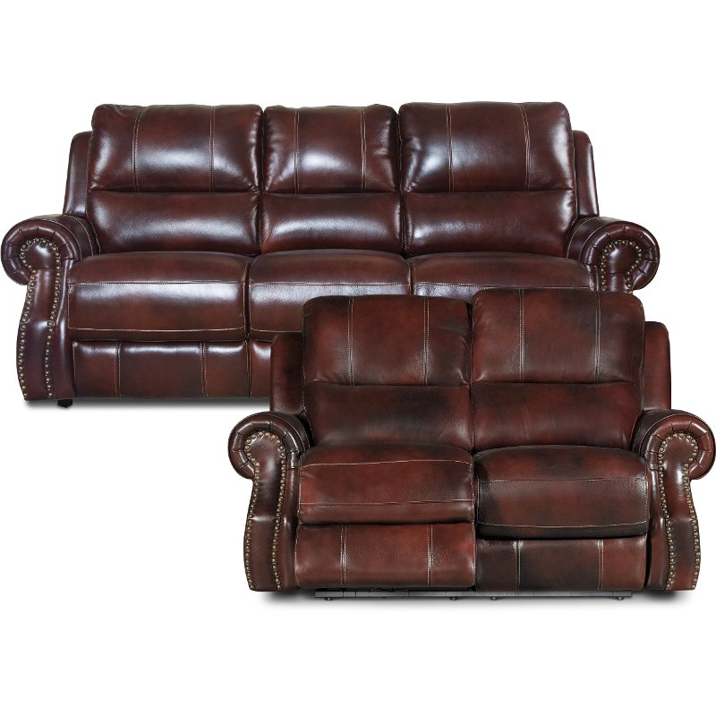 Auburn Leather Match Power Reclining Living Room Set   Nailhead