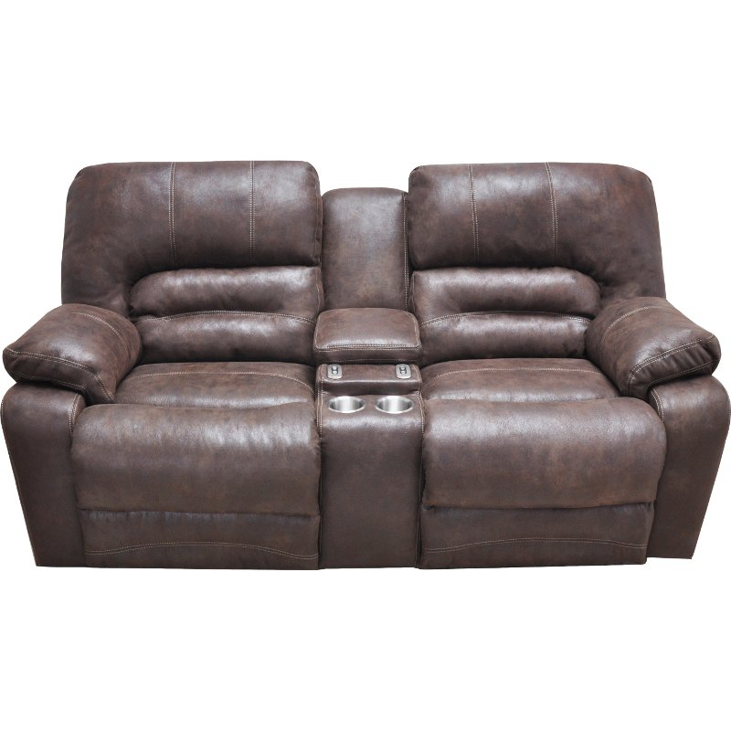 Chocolate Brown Microfiber Power Reclining Loveseat Legacy Rc