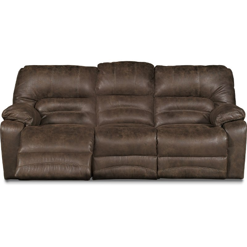 Chocolate Brown Microfiber Reclining Sofa Legacy