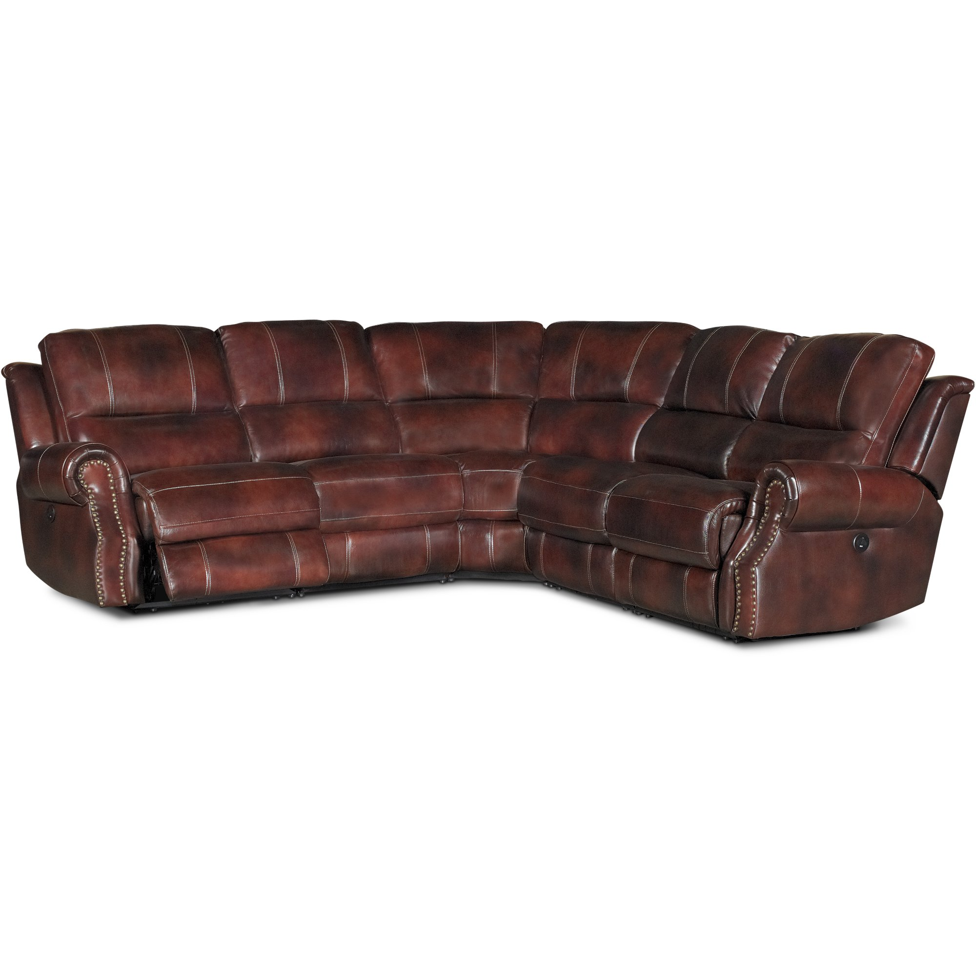 Auburn Leather Match 5 Piece Power Reclining Sectional