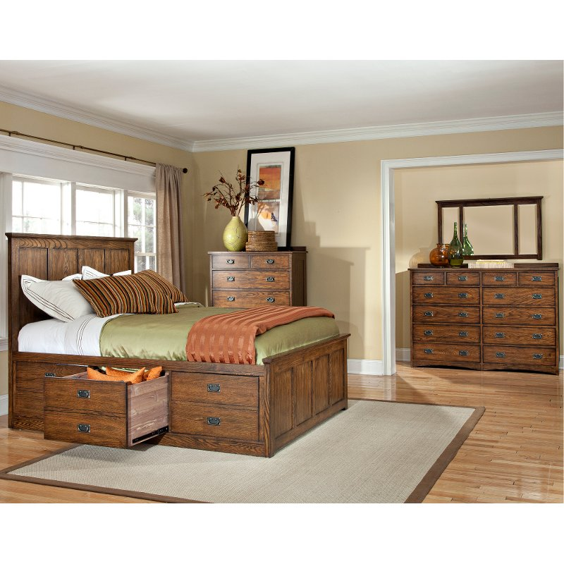 Mission Oak 7 Piece King Storage Bedroom Set   Oak Park