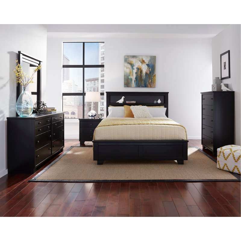 Contemporary Black 4 Piece Queen Bedroom Set   Diego | RC Willey Furniture  Store