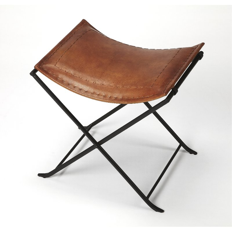 Brown Leather Stool With Iron Base Rc Willey Furniture Store