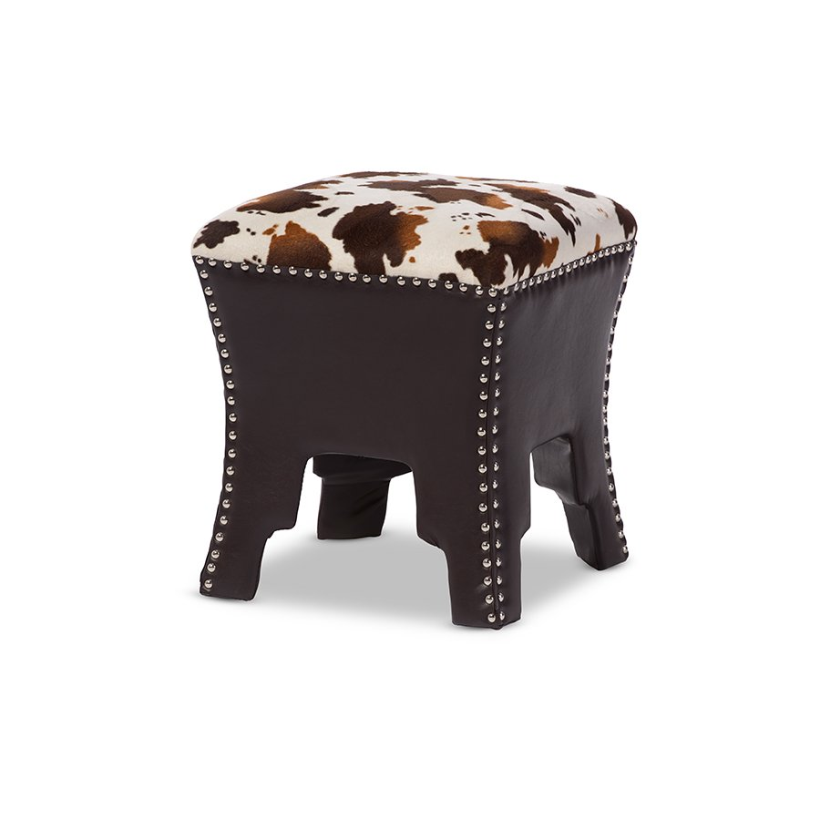 Merveilleux Cow Print And Brown Faux Leather Stool   Sally | RC Willey Furniture Store