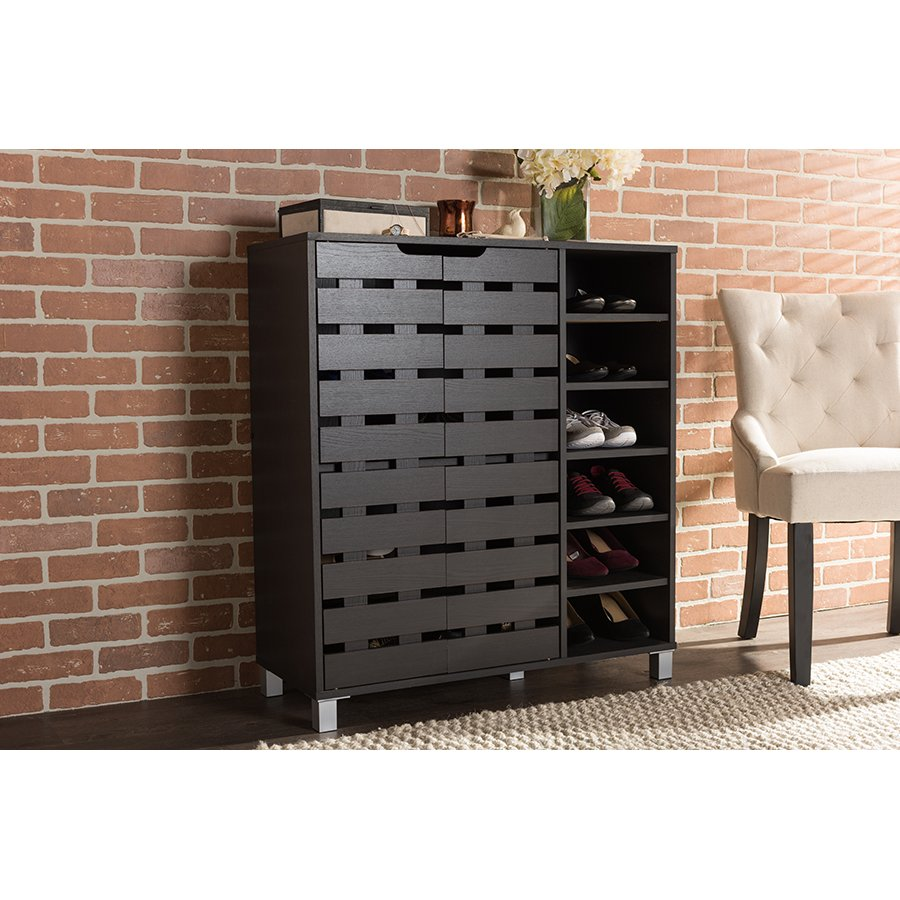 Merveilleux Dark Brown Shoe Cabinet With Open Shelves   Shirley | RC Willey Furniture  Store