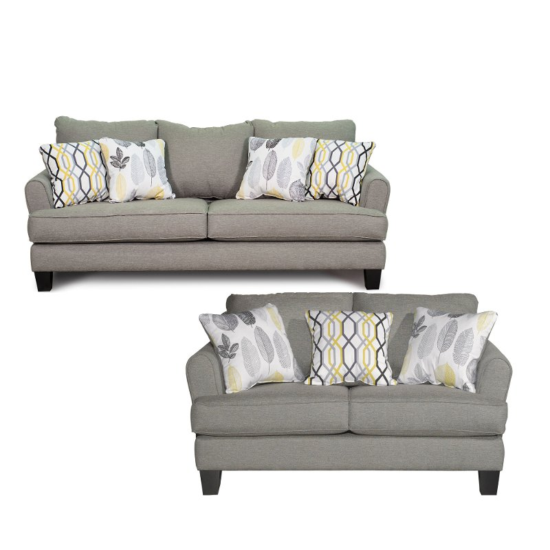 Contemporary Stone Gray 2 Piece Living Room Set Bryn Rc Willey
