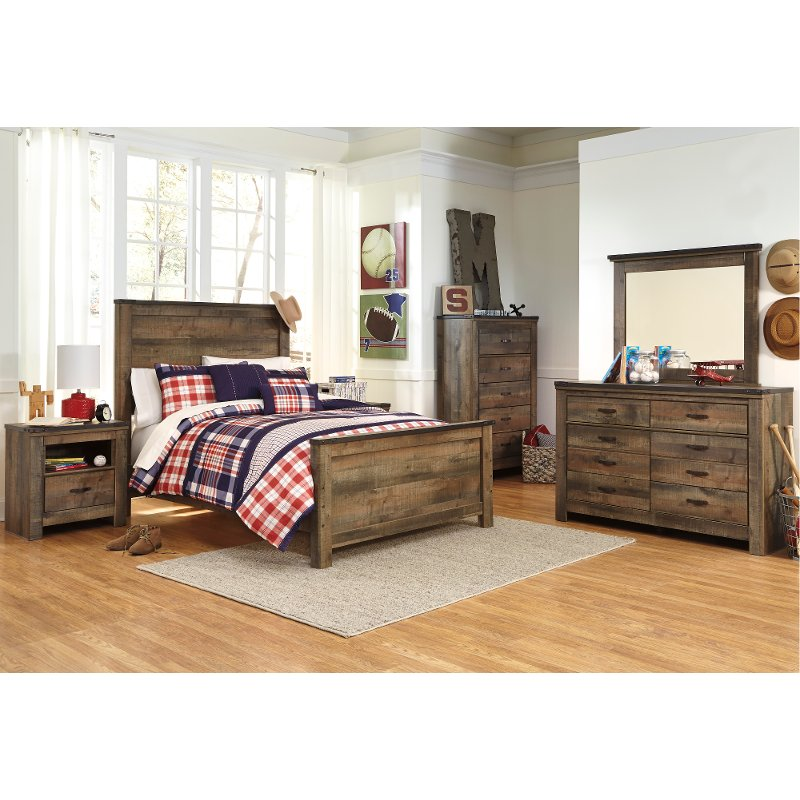 Contemporary Rustic Oak 4 Piece Full Bedroom Set   Trinell | RC