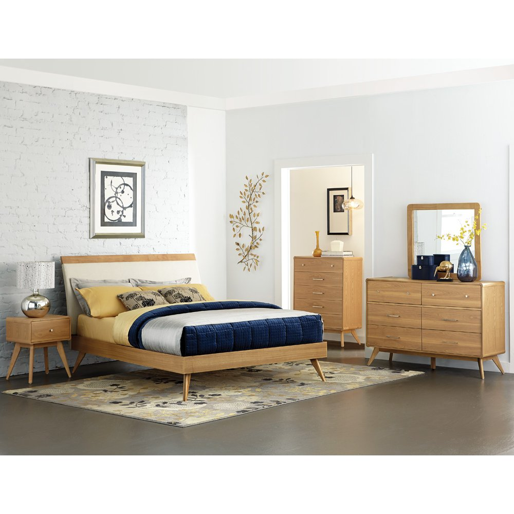 Bedroom Sets Furniture Stores: Light Ash Mid-Century Modern 6 Piece Queen Bedroom Set