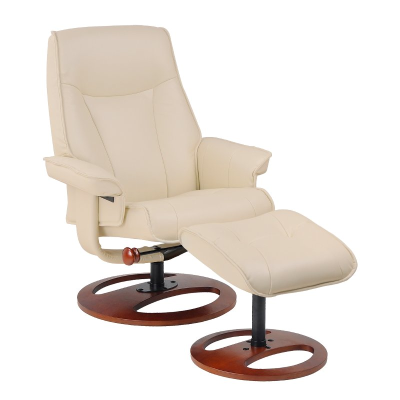 Rc Wiley Reno: Taupe Swivel Recliner & Ottoman - Stress Free