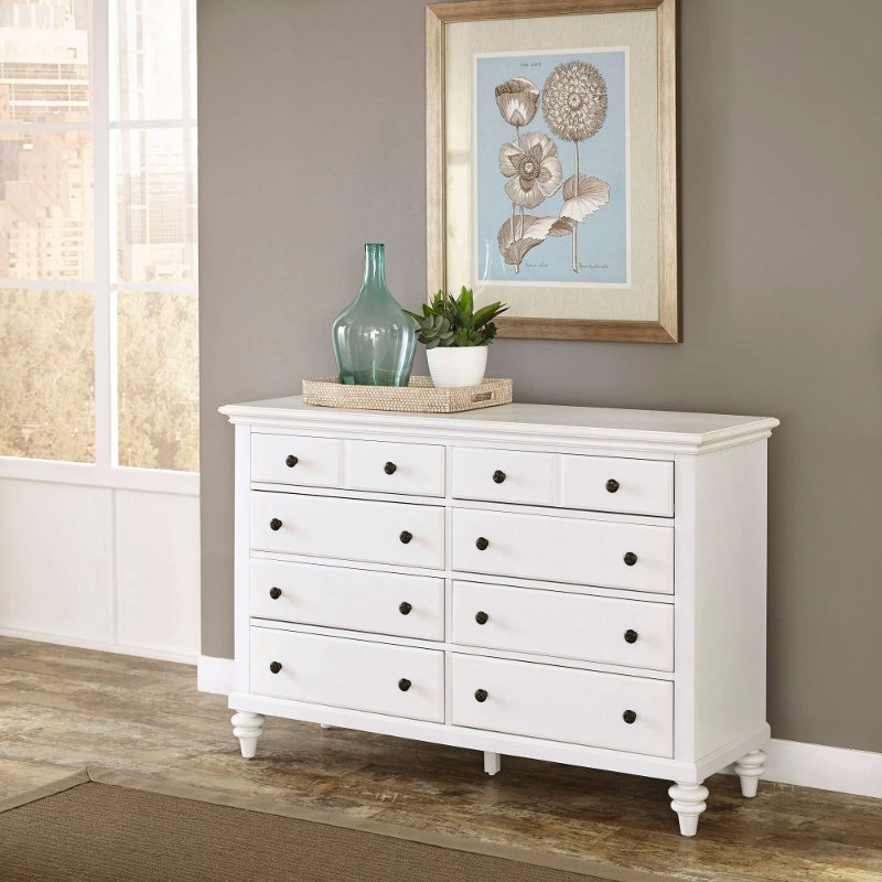 Rc Willey Idaho: White 6-Drawer Dresser - Bermuda