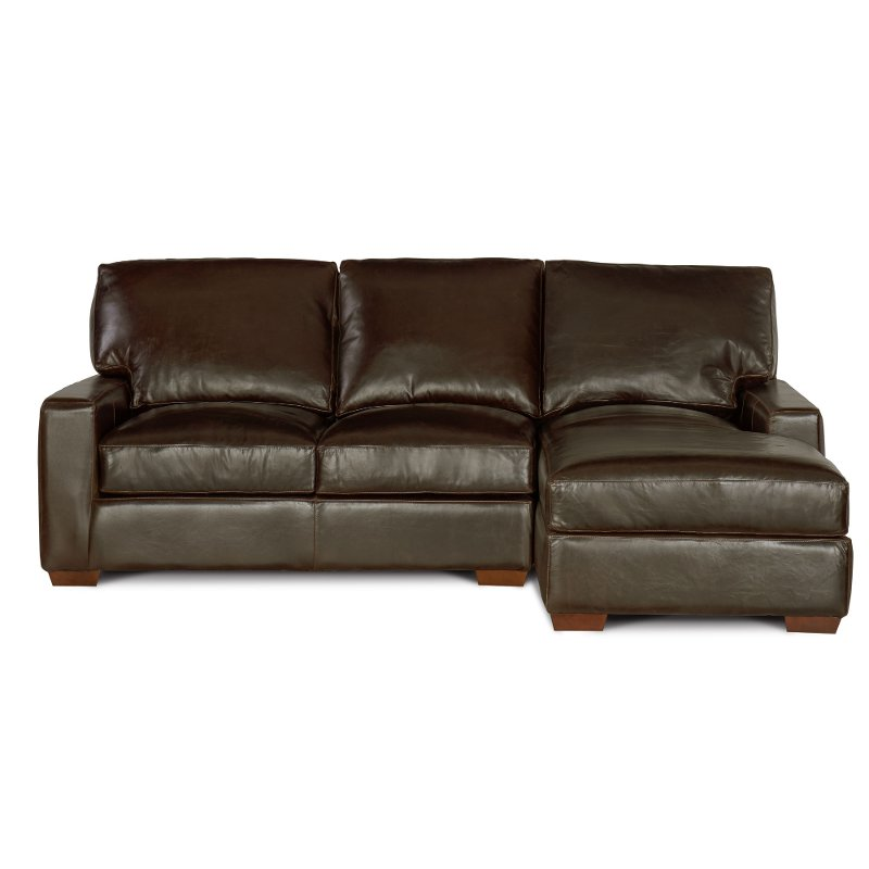 Contemporary Brown Leather Sofa-Chaise - Mayfair