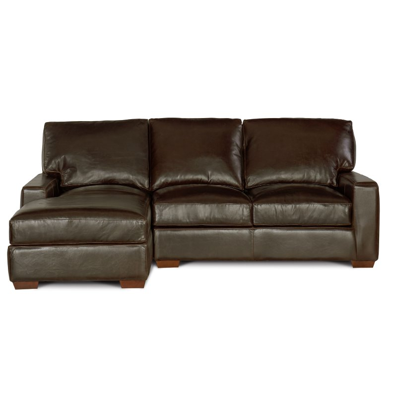 Contemporary Brown Leather Sofa-Chaise - Mayfair | RC Willey ...