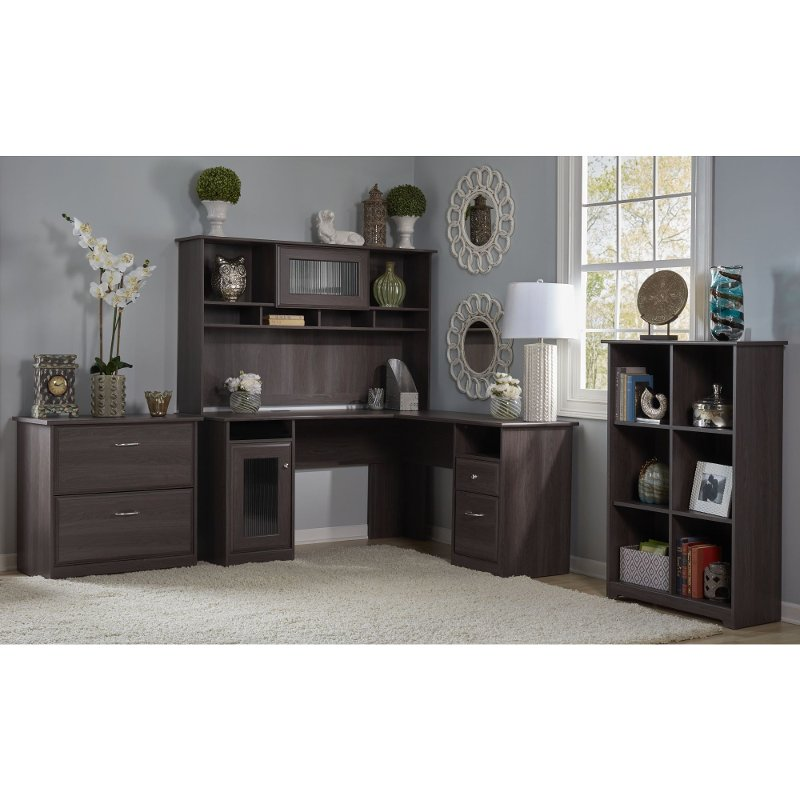 Heather Gray L Desk With Hutch Lateral File Bookcase Cabot