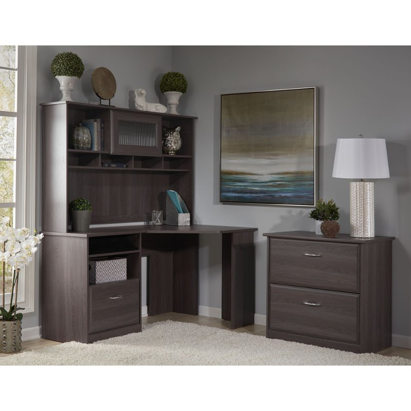 Heather Gray Corner Desk With Hutch Lateral File Cabot