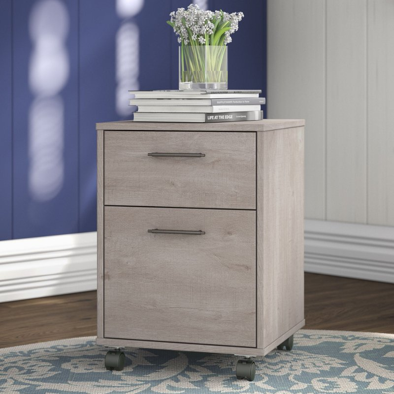Beau Gray 2 Drawer Rolling File Cabinet   Key West