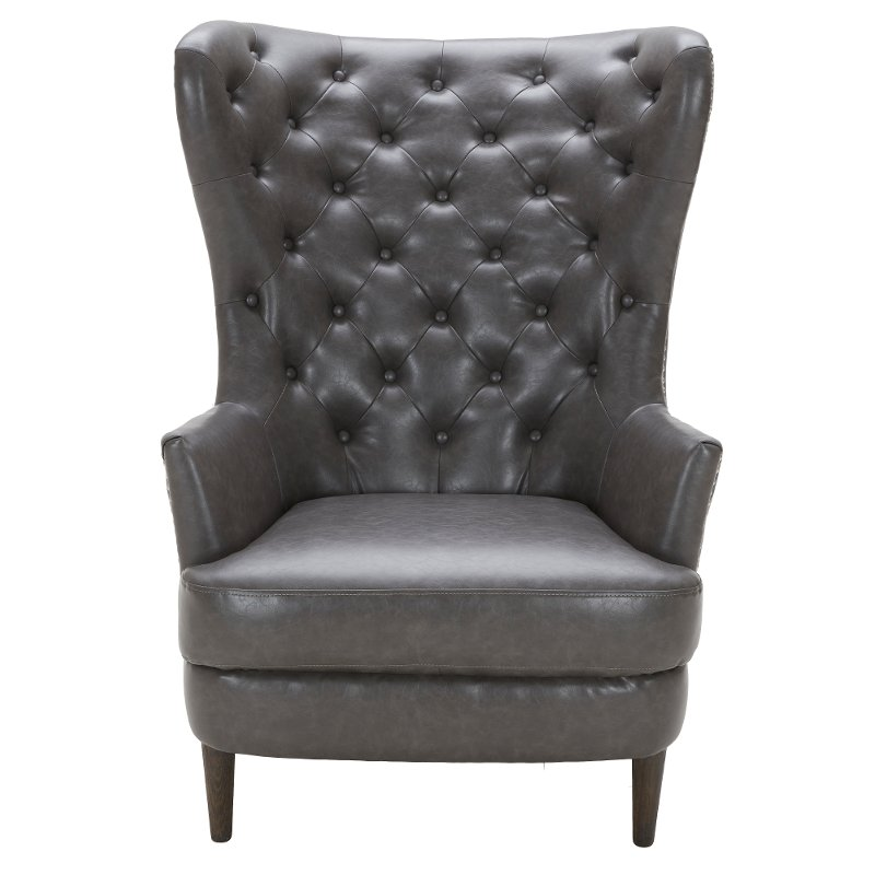Superieur Charcoal Gray Wingback Chair   Nicole