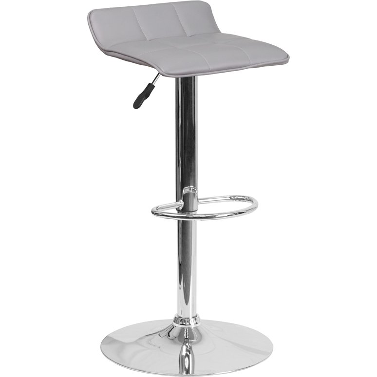 Superb Gray Adjustable Bar Stool With Chrome Base Pdpeps Interior Chair Design Pdpepsorg
