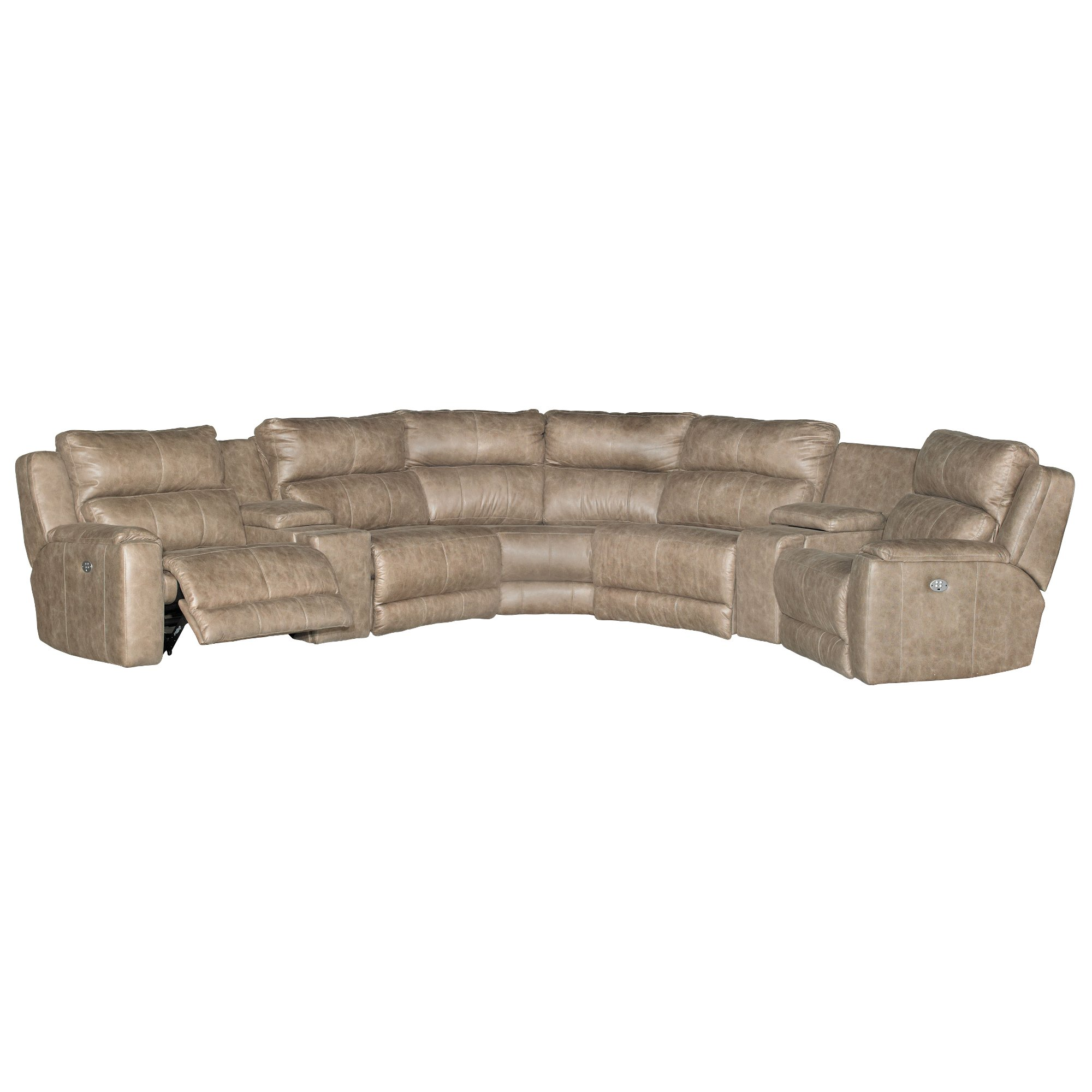 Awesome Vintage Taupe 7 Piece Power Reclining Sectional Sofa Dazzle Evergreenethics Interior Chair Design Evergreenethicsorg
