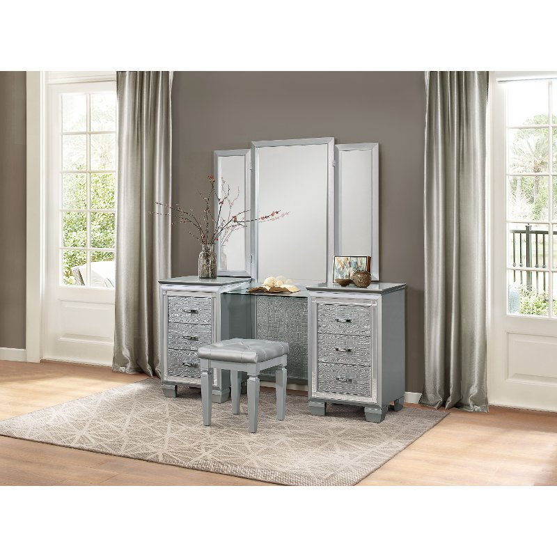 Rc Willey Stores: Silvery Gray Contemporary Vanity Set - Allura