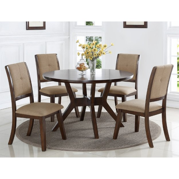 Whitley Cappuccino 5 Piece Dinette Set: Espresso 5 Piece Round Dining Set - Barney Collection