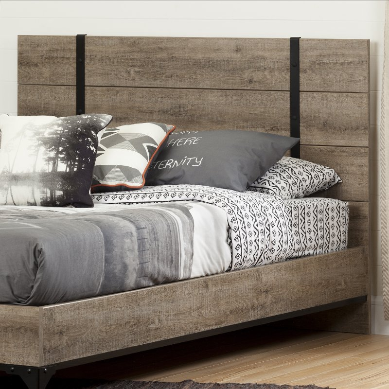 Weathered Oak Full Queen Headboard Valet Rc Willey Furniture Store