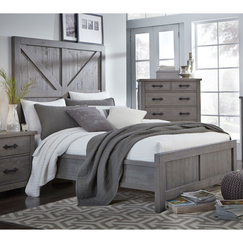 Gray Rustic Contemporary King Size Bed - Austin
