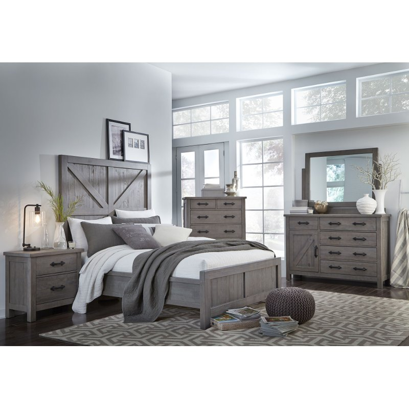 Gray rustic contemporary 6 piece king bedroom set austin - Contemporary king bedroom furniture ...