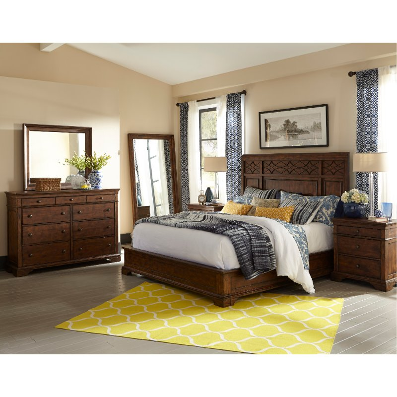 Coffee brown classic 6 piece queen bedroom set trisha - Espresso brown bedroom furniture ...