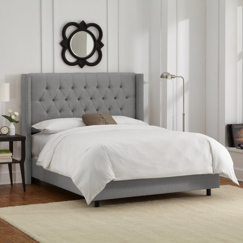linen gray diamond tufted wingback full size bed rc willey furniture store. Black Bedroom Furniture Sets. Home Design Ideas