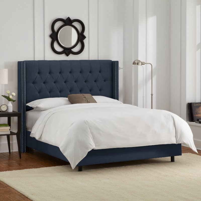 142nbbed Pwlnnnv Linen Navy Blue Tufted Wingback Queen Bed