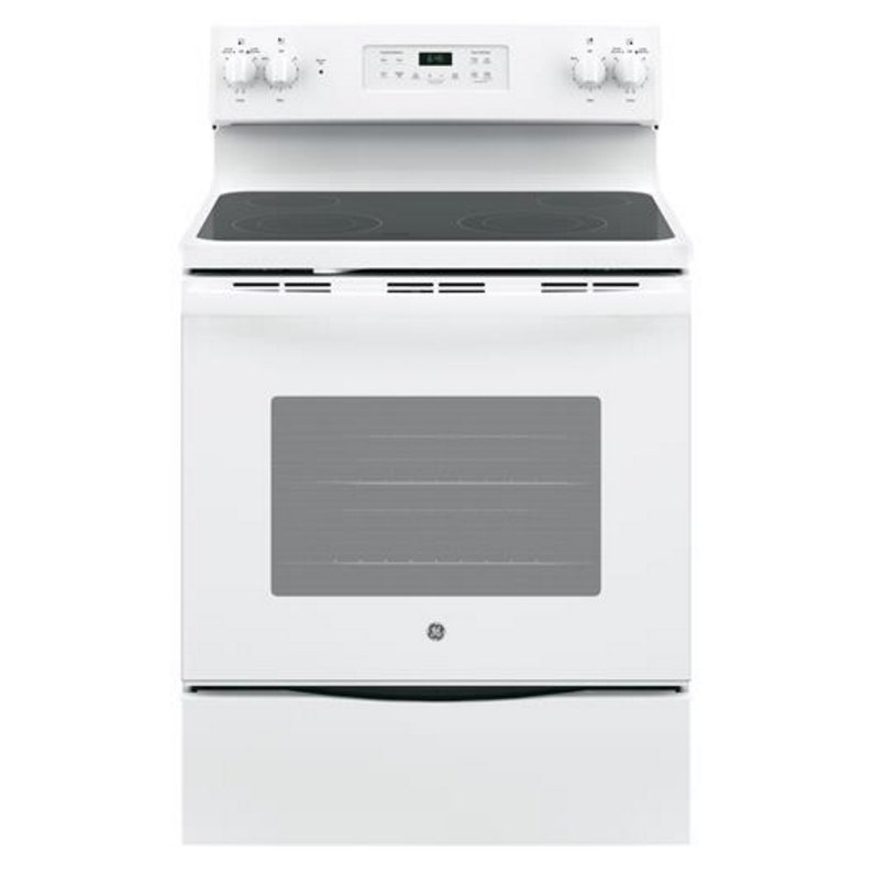 Ge 30 Inch Slide In Smoothtop Electric Range 5 3 Cu Ft White