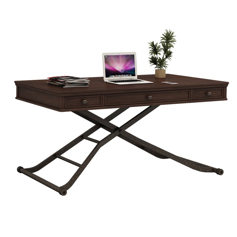 Cherry Brown Sit And Stand Adjule Height Desk