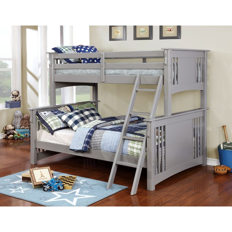Rc Willey Kids Beds: Classic Gray Twin-over-Full Bunk Bed - Spring Creek