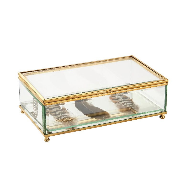 Superbe Decorative Glass Box With Feathers